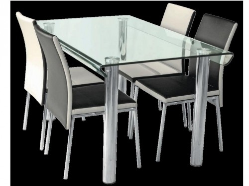 4 Sets Rectangular Glass Tables W Chrome Legs And 4 Black