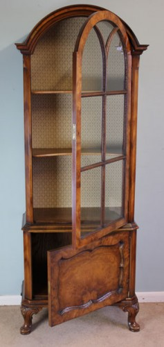 Antique Walnut Cupboard Bookcase Edwardian Display